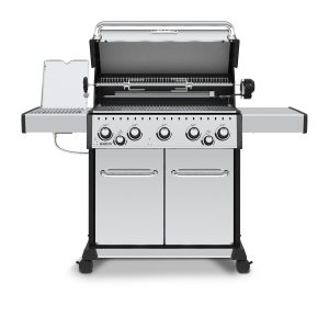 Broil King Baron S 590 Pro IR - With lid lifted, rotisserie showing and infrared side burner showing