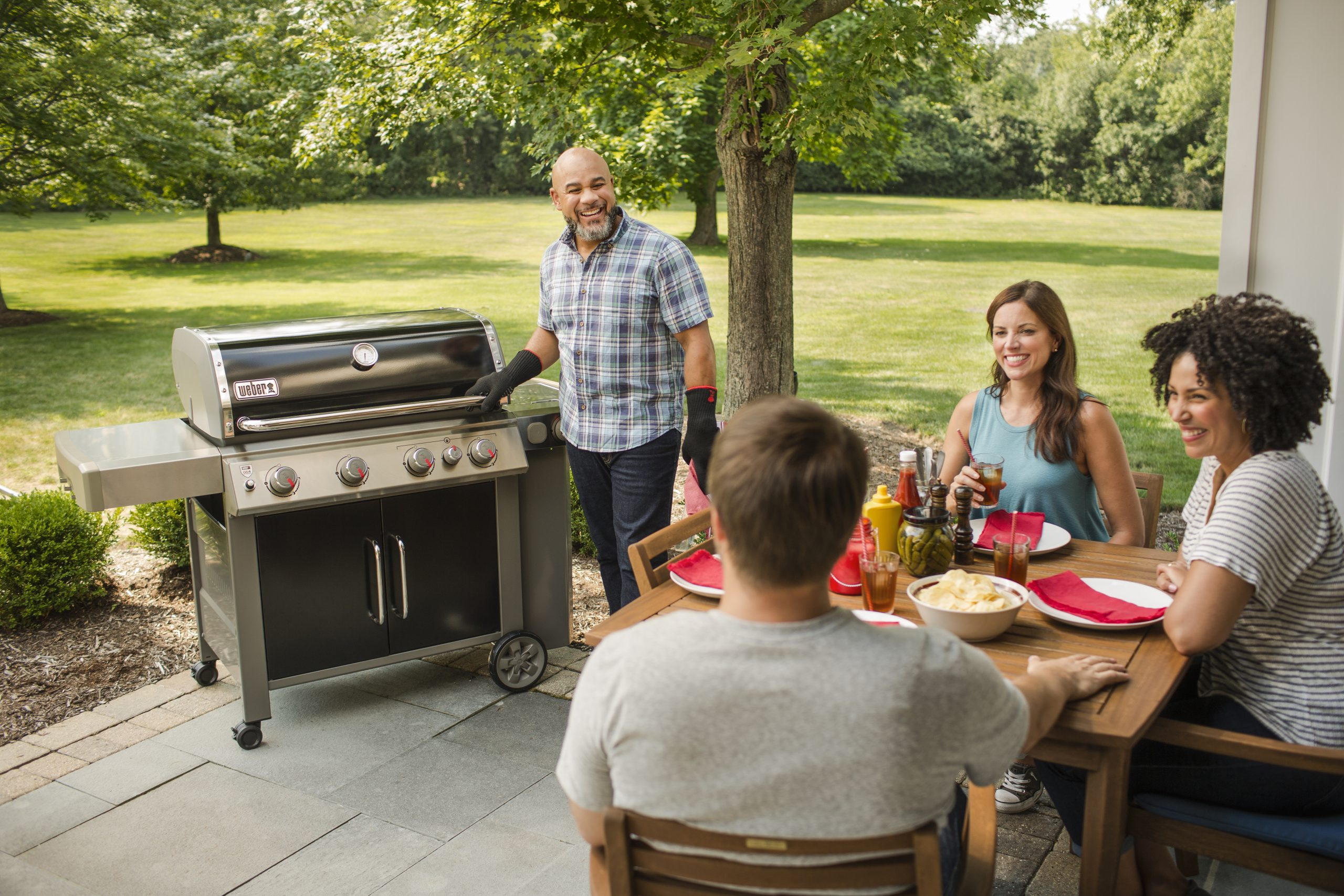 This is a picture of the Weber E - 435 in a backyard setting with 4 people enjoying a barbecue