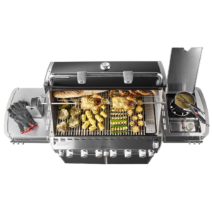 Weber Summit E-670 Grill with cooked food, overhead view, Pollocks Home Hardware