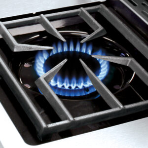 Broil King Sideburner with blue flame from a gas element